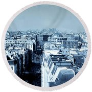 Rooftops Of Paris - Selenium Treatment Round Beach Towel
