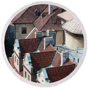 Rooftops Of Prague In Czechia Europe Round Beach Towel