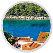 Rooftops Sea And Stone Islands Round Beach Towel