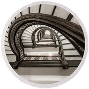 Rookery Building Off Center Oriel Staircase Round Beach Towel