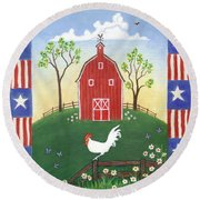 Rooster Americana Round Beach Towel by Linda Mears