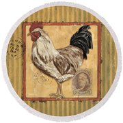 Rooster And Stripes Round Beach Towel by Debbie DeWitt