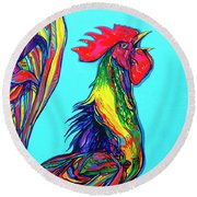 Rooster Crow Round Beach Towel
