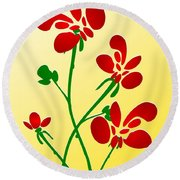 Rooster Flowers Round Beach Towel