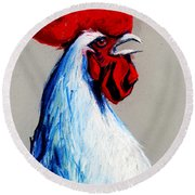 Rooster Head Round Beach Towel