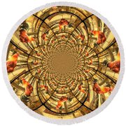 Crowing Rooster Kaleidoscope Round Beach Towel