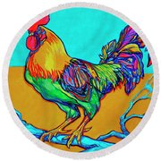 Rooster Perch Round Beach Towel