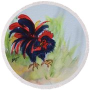 Rooster - Red And Black Rooster Round Beach Towel