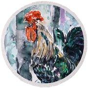 Rooster  Round Beach Towel by Zaira Dzhaubaeva