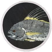 Gyotaku Roosterfish Round Beach Towel