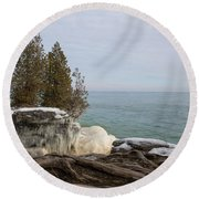 Rooted In Winter Round Beach Towel