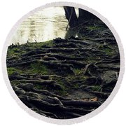 Roots On White River Round Beach Towel