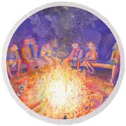 Roots Retreat Campfire Jam Round Beach Towel