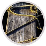 Rope And Wood Sidelight Textures Round Beach Towel