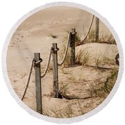 Rope And Wooden Fence Round Beach Towel