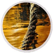Rope On Liquid Gold Round Beach Towel