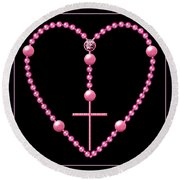 Rosary With Pink And Purple Beads Round Beach Towel