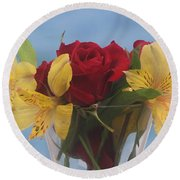 Rose And Peruvian Lilies Round Beach Towel