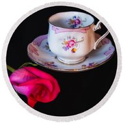 Rose And Tea Cup Round Beach Towel