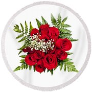 Rose Bouquet From Above Round Beach Towel