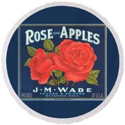 Rose Brad Apples Crate Label Round Beach Towel