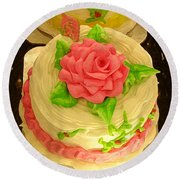 Rose Cakes Round Beach Towel