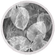 Rose Clippings Mural Wall 2 - Black And White Round Beach Towel