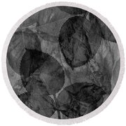 Rose Clippings Mural Wall - Black And White Round Beach Towel