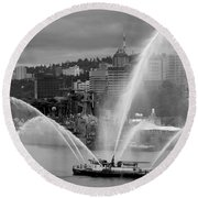 Rose Festival Fire Boat Round Beach Towel