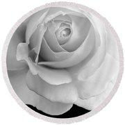 Rose Flower Macro Black And White Round Beach Towel