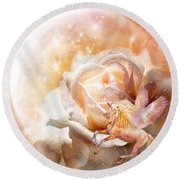 Rose For A Unicorn Round Beach Towel