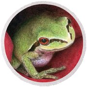 Rose Frog Round Beach Towel