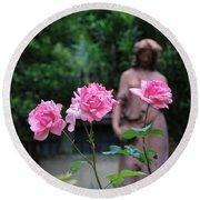 Rose Garden 3 Round Beach Towel