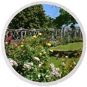 Rose Garden And Trellis Round Beach Towel