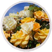 Rose Garden Art Prints Yellow Orange Rose Flowers Round Beach Towel