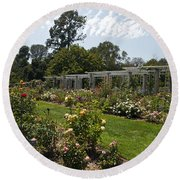 Rose Garden At The Huntington Library Round Beach Towel