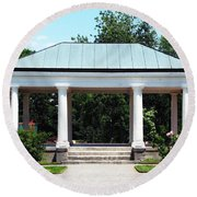 Rose Garden Pergola In Delaware Park Buffalo Ny Oil Painting Effect Round Beach Towel