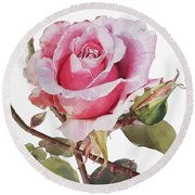 Watercolor Of Pink Rose Grace Round Beach Towel