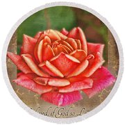 Rose Greeting Card With Verse Round Beach Towel