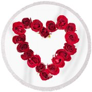 Rose Heart Round Beach Towel