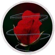 Rose In A Dark Round Beach Towel