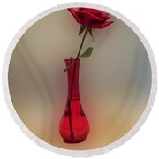 Rose In A Vase Round Beach Towel