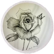 Rose In Monotone Round Beach Towel