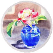 Rose In The Blue Vase  Round Beach Towel