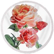 Watercolor Of Red Roses On A Stem I Call Rose Maurice Corens Round Beach Towel