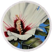 Rose Of Sharon Round Beach Towel by Karen Beasley
