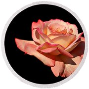 Rose On Black Background Round Beach Towel