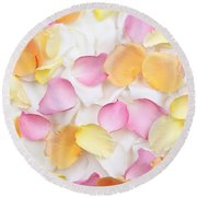 Rose Petals Background Round Beach Towel