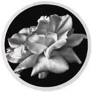 Rose Petals In Black And White Round Beach Towel