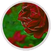 Rose Red By Jrr Round Beach Towel